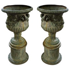 19th Century French Pair of Large Bronze Jardinières with Ram's Heads