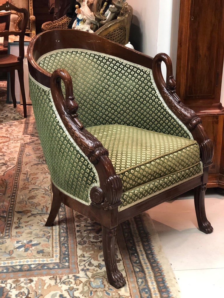 Hand-Carved 19th Century French Pair of Mahogany Empire Armchair with Swan's Headrests For Sale