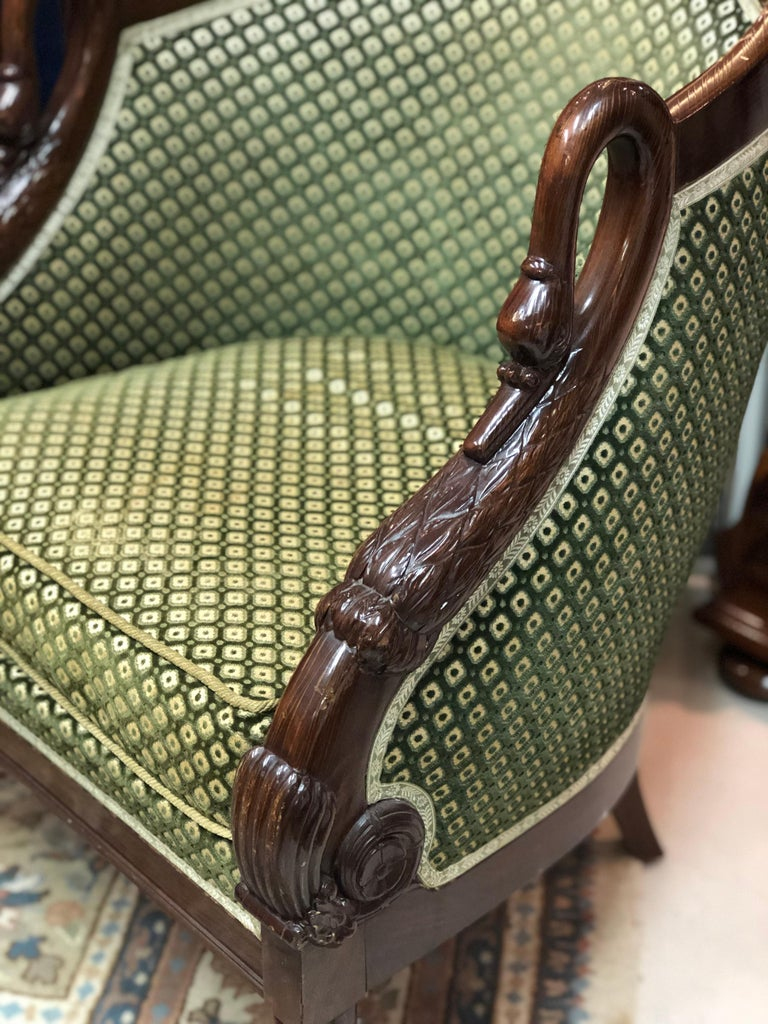 19th Century French Pair of Mahogany Empire Armchair with Swan's Headrests In Good Condition For Sale In , CH