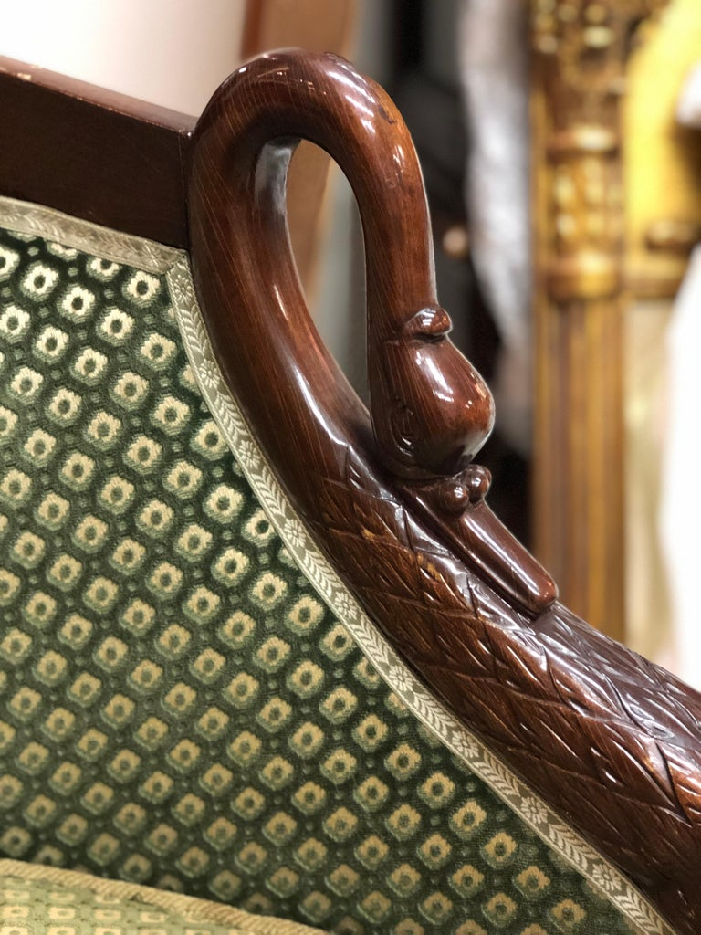 19th Century French Pair of Mahogany Empire Armchair with Swan's Headrests For Sale 3