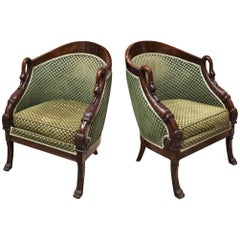 19th Century French Pair of Mahogany Empire Armchair with Swan's Headrests