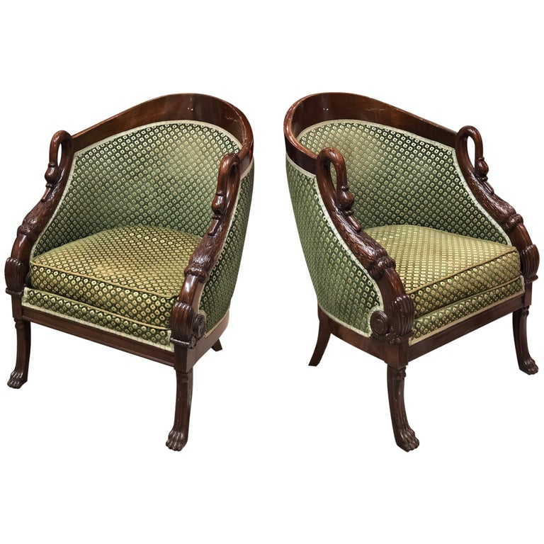 19th Century French Pair of Mahogany Empire Armchair with Swan's Headrests For Sale