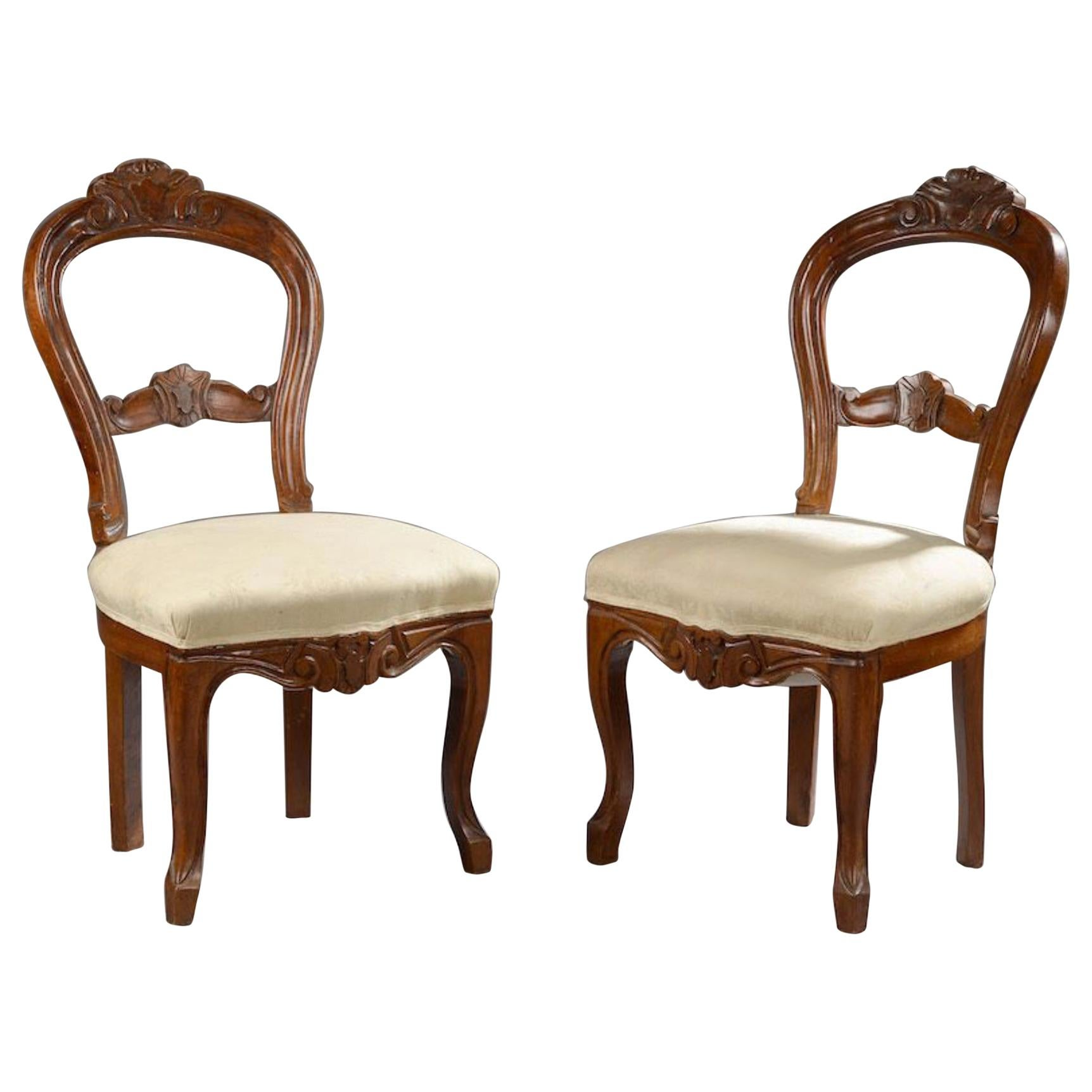 19th Century French Pair of Mahogany Hand Carved Chairs with Round Backrests