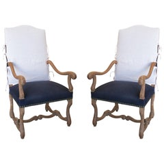 19th Century French Pair of Reupholstered Wooden Armchairs