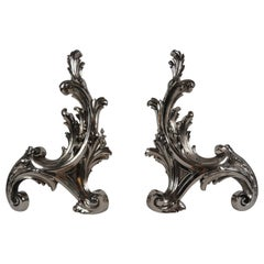 19th Century French Pair of Rococo Style Chenets