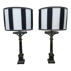 19th Century French Pair of Table Lamps with Lampshades, 1890s