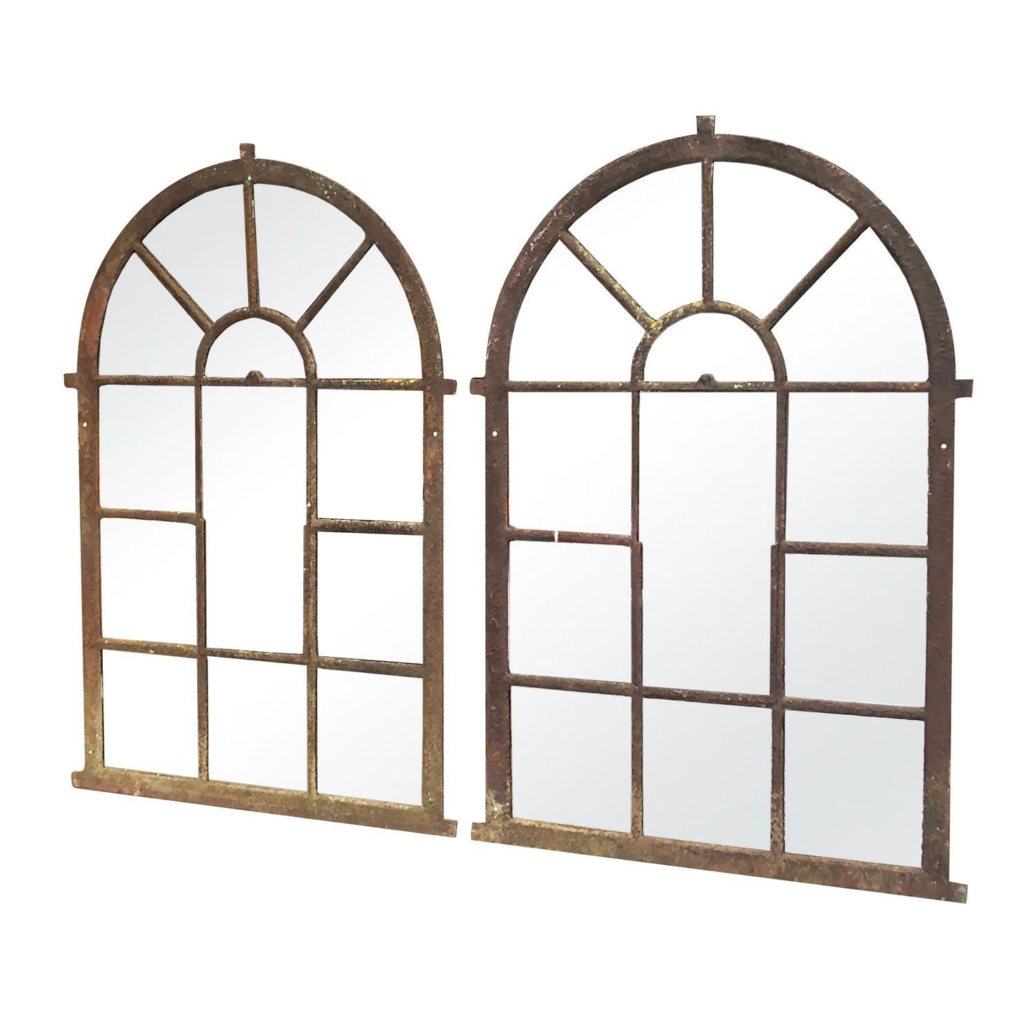 19th Century French Pair of Tall Guillard, Orangerie Metal Wall Mirrors