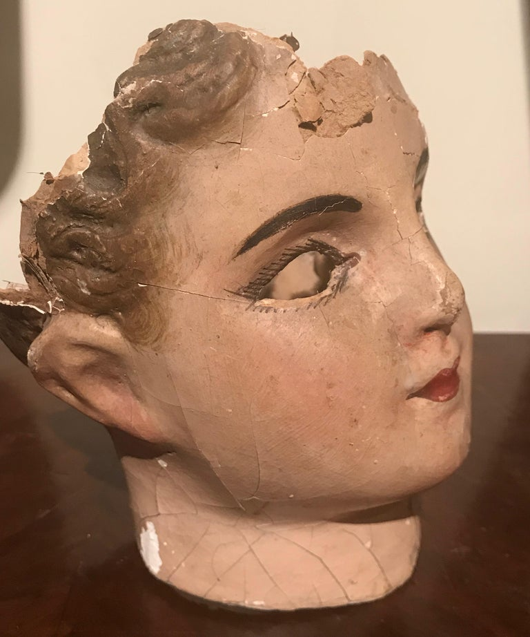 19th Century French Papier Mâché Doll Head In Distressed Condition For Sale In Antwerp, BE