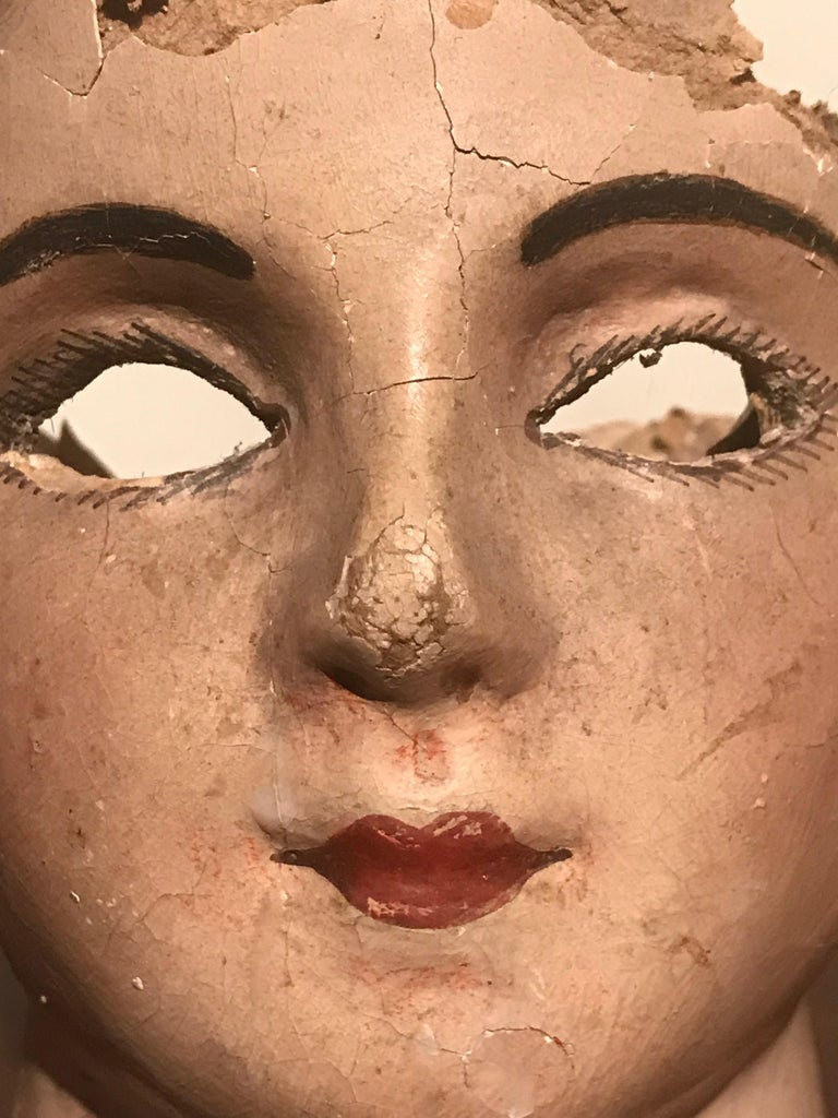 19th Century French Papier Mâché Doll Head For Sale 1