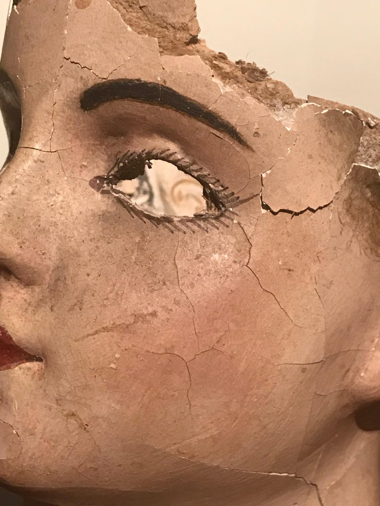 19th Century French Papier Mâché Doll Head For Sale 2