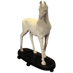19th Century French Papier Mache' Horse on Wooden Base