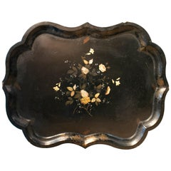 19th Century French Papier Mâché Tray with Rose Inlays