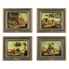 19th Century French Pastoral Paintings, Set of 4