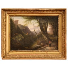 19th Century French Pastoral Scene Oil Painting in Carved Gilt Frame