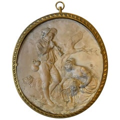 19th Century, French Pastoral Scene Stone Plaque with Gilt Bronze Frame
