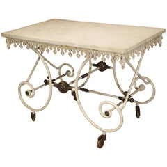 19th Century, French Pastry or Butchers Display Table with Carrara Marble Top