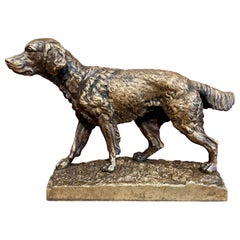 19th Century French Patinated Bronze Dog Sculpture in the Manner of J. Moiniez