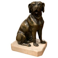 19th Century French Patinated Bronze Dog Sculpture on Grey Marble Base