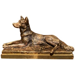 19th Century French Patinated Bronze Dog Sculpture Signed A. Laplanche