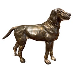 19th Century French Patinated Bronze Hunt Dog Sculpture in the Manner of Cartier