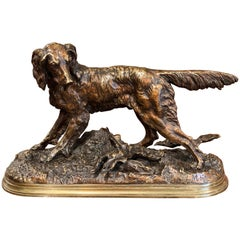 19th Century French Patinated Bronze Hunt Dog Sculpture Signed J. Moiniez