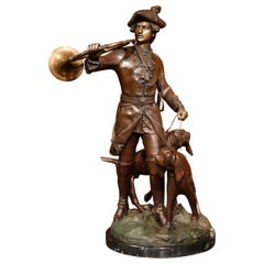19th Century French Patinated Bronze Hunt Sculpture Composition Signed Dumaige