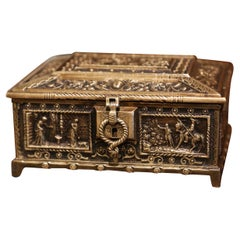 19th Century French Patinated Bronze Jewelry Box with Mythology Decor