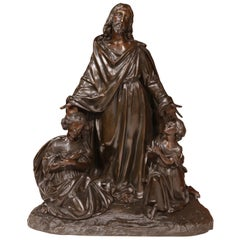 19th Century French Patinated Bronze Sculpture Composition of Jesus Christ