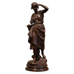 "19th Century French Patinated Bronze Sculpture ""La Pecheuse"" Signed E. Laurent"