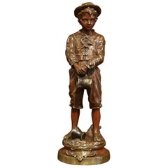 """19th Century French Patinated Bronze Statue """"La Cruche Cassee"""" Signed C. Anfrie"""