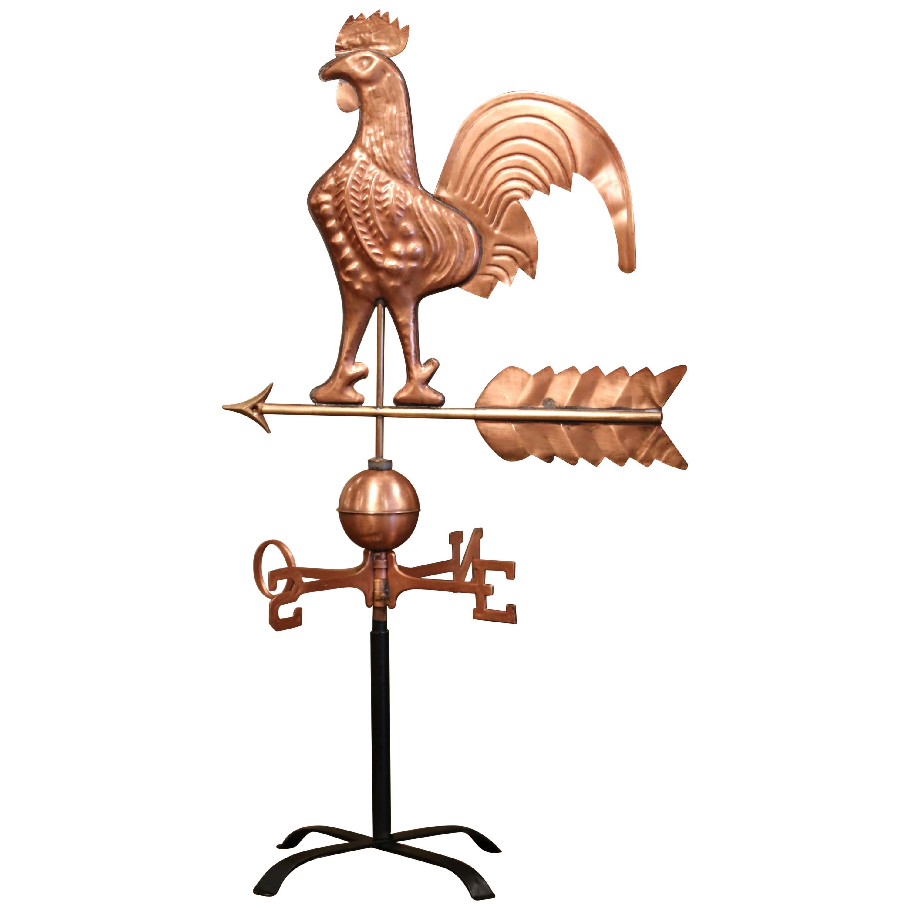 19th Century French Patinated Copper Rooster Weather Vane with Cardinal Points
