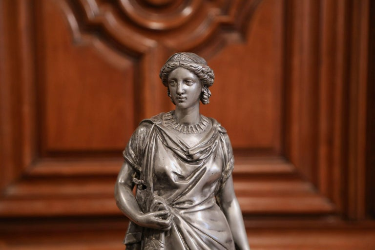 Classical Roman 19th Century French Patinated Pewter Roman Woman Statue For Sale