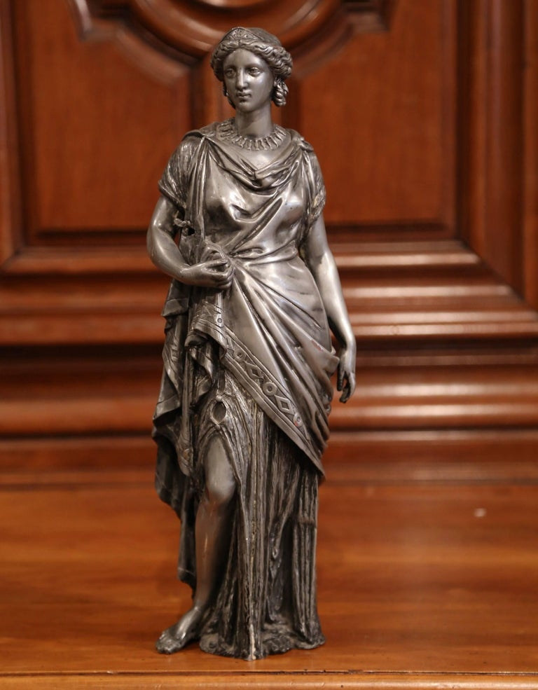 Hand-Carved 19th Century French Patinated Pewter Roman Woman Statue For Sale