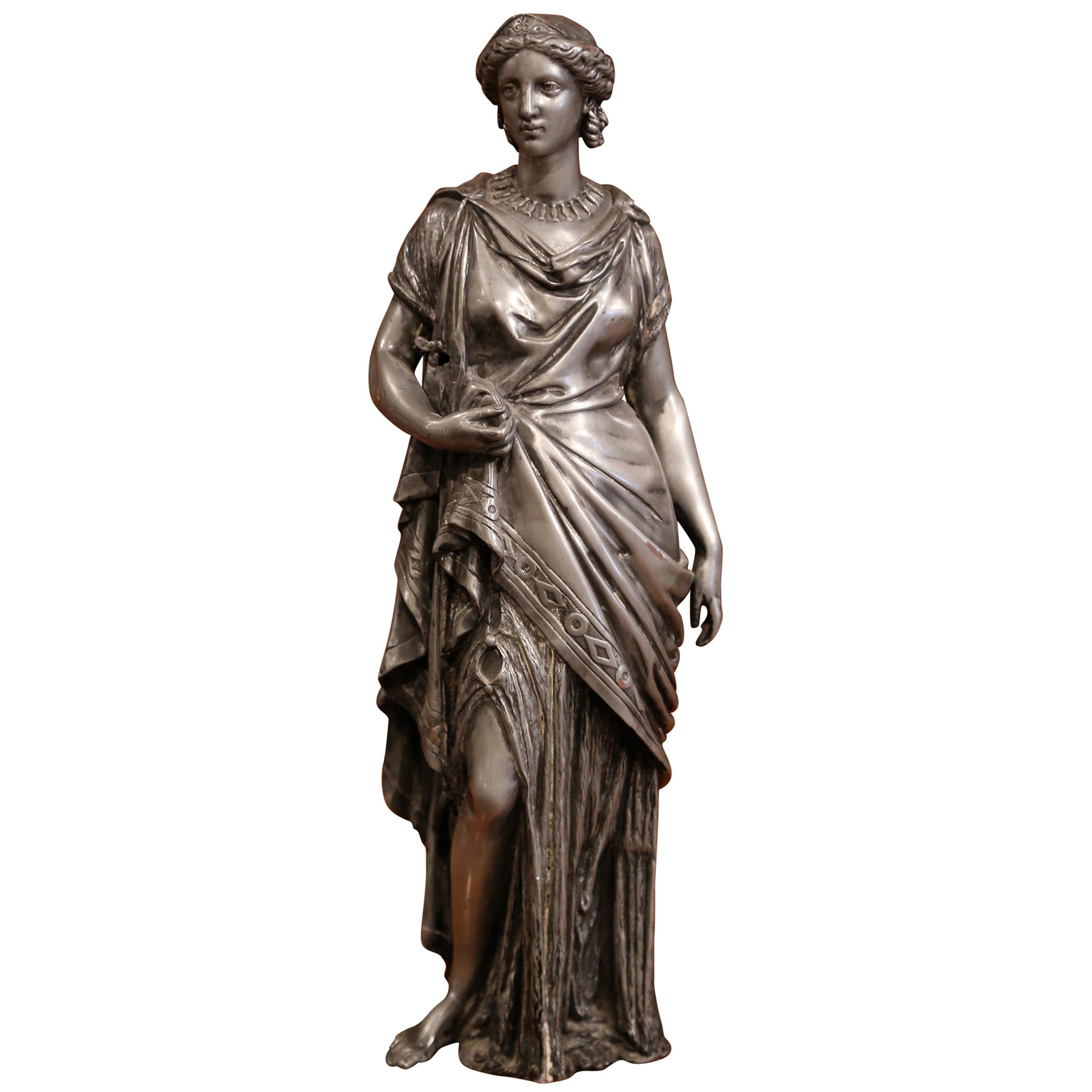 19th Century French Patinated Pewter Roman Woman Statue