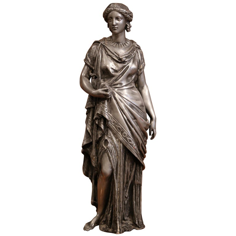 19th Century French Patinated Pewter Roman Woman Statue For Sale