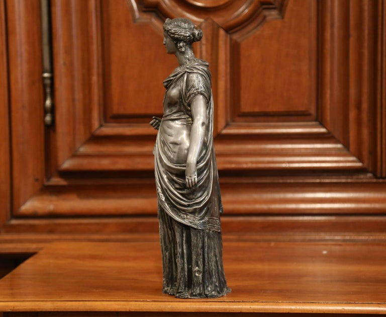 19th Century French Patinated Pewter Statue of Roman Woman For Sale 1