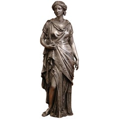 19th Century French Patinated Pewter Statue of Roman Woman