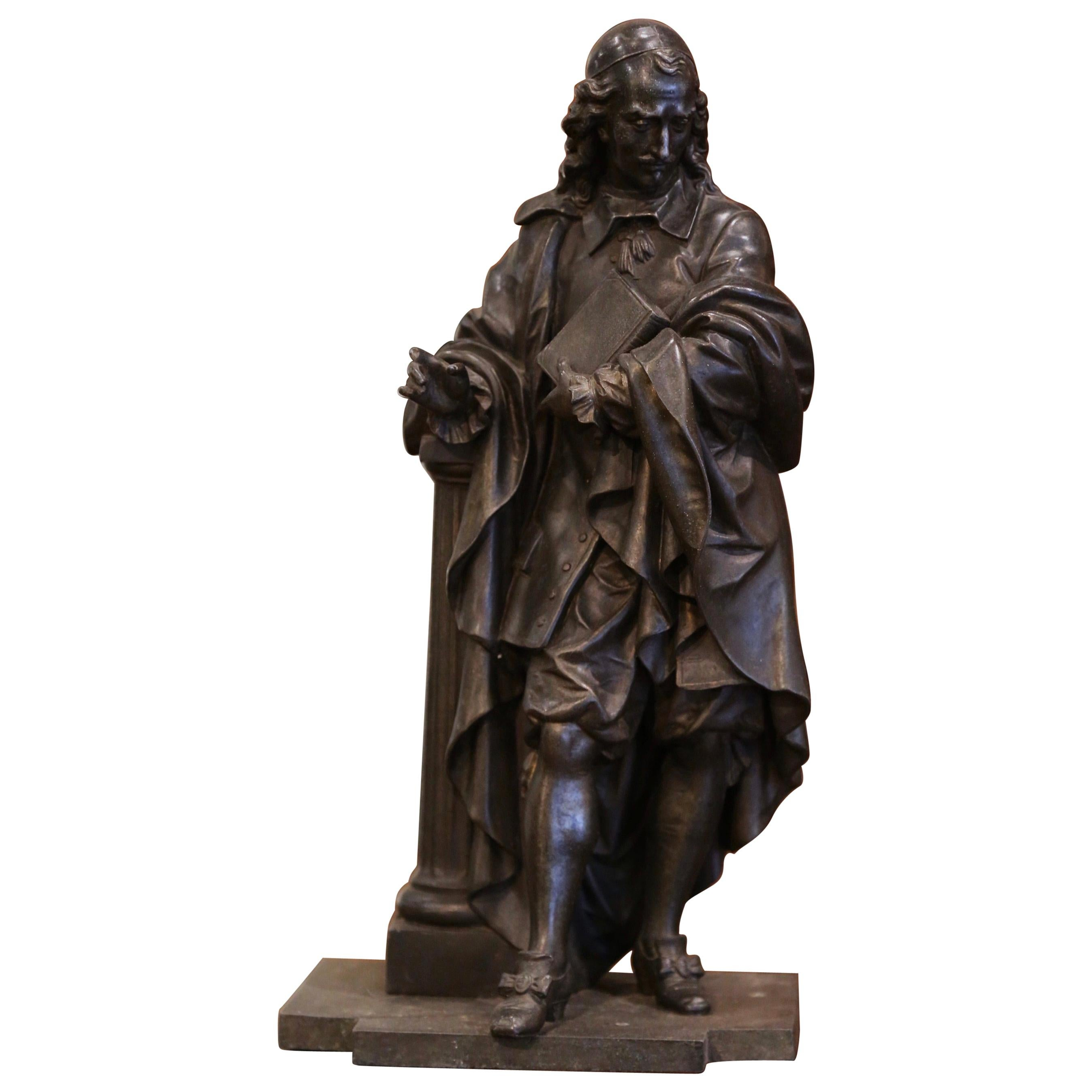 19th Century French Patinated Spelter Statue of Cardinal Mazarin