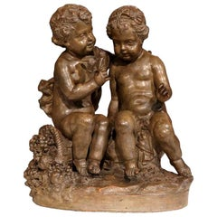 19th Century French Patinated Terracotta Cherub Sculpture Composition