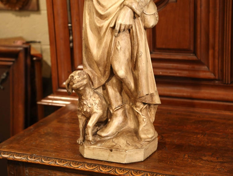 Ceramic 19th Century French Patinated Terracotta Shepherd and Dog Sculpture For Sale