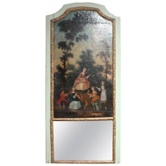 19th Century French Pier Glass Mirror with Oil Canvas of Court Scene