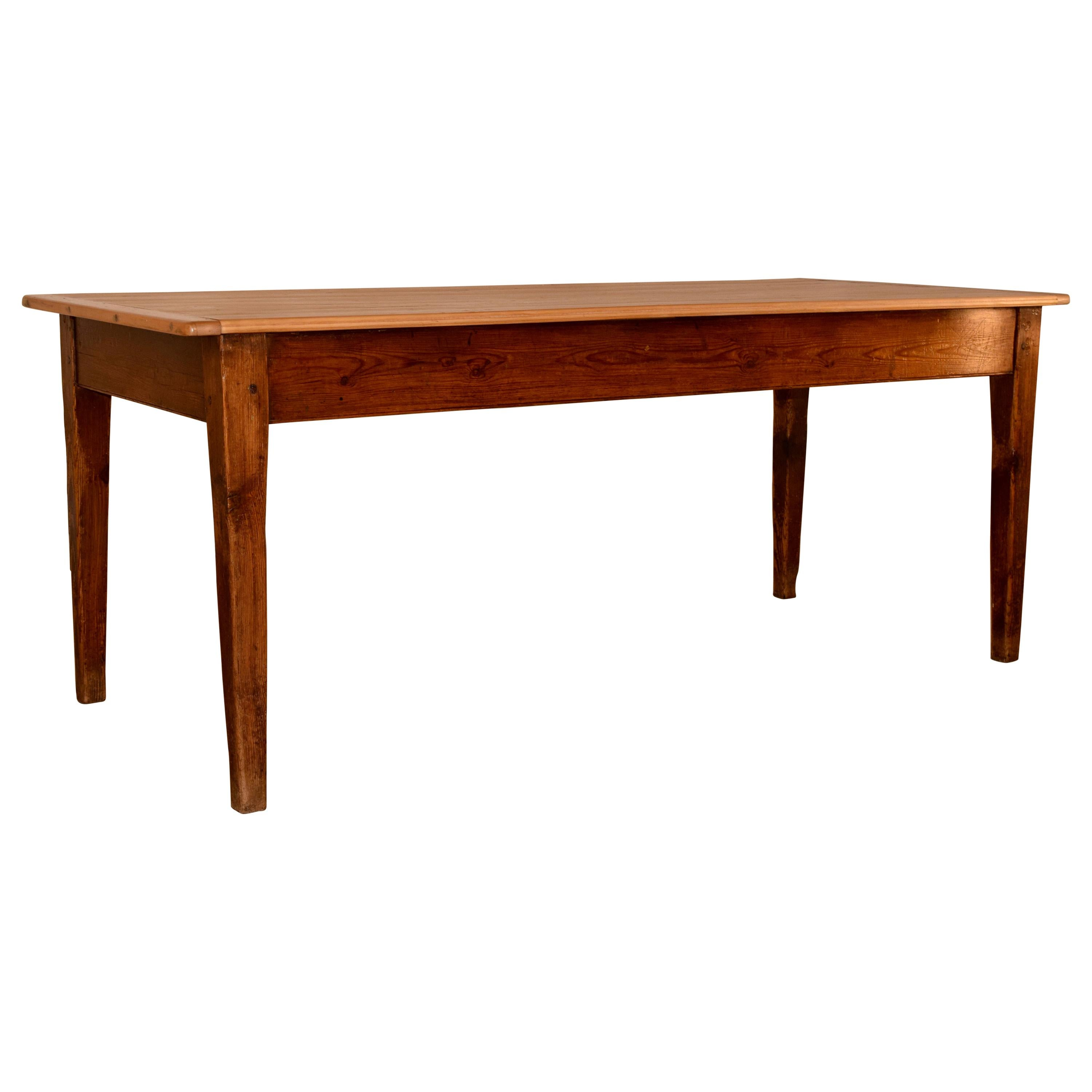 19th Century French Pine Farm Table