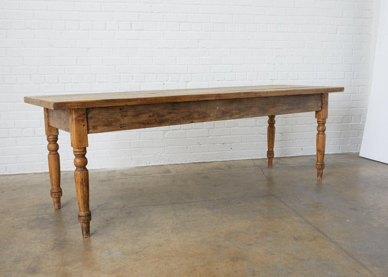 Rustic 19th Century French Pine Farmhouse Harvest Table For Sale