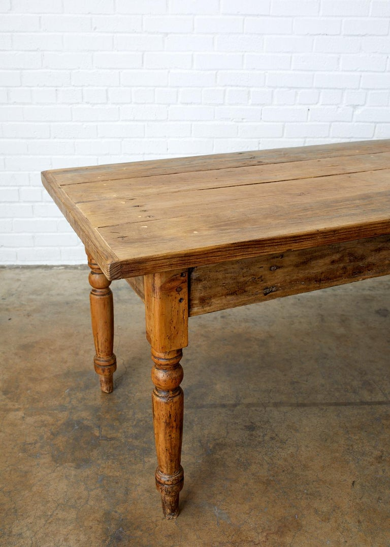 European 19th Century French Pine Farmhouse Harvest Table For Sale