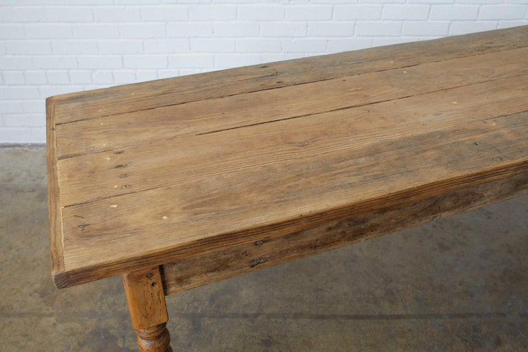 Hand-Crafted 19th Century French Pine Farmhouse Harvest Table For Sale