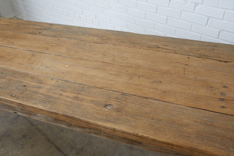 20th Century 19th Century French Pine Farmhouse Harvest Table For Sale