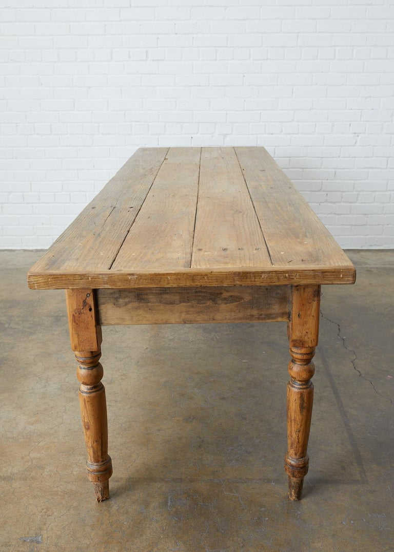 19th Century French Pine Farmhouse Harvest Table For Sale 1