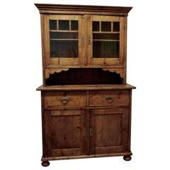 19th Century French Pine Farmhouse Kitchen Glazed Dresser