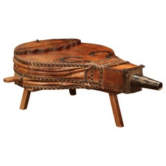 19th Century French Pine Iron and Leather Blacksmith Bellows Coffee Table