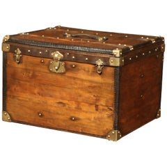 19th Century French Pine Leather and Brass Hat Trunk Luggage
